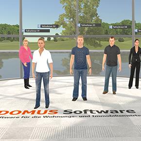 In den virtuellen Schulungen von DOMUS sind die Teilnehmer über individuelle Avatare persönlich im Schulungsraum vertreten.
