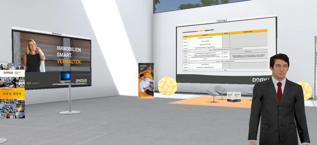 Beim ersten Online-Kongress von DOMUS können sich die Teilnehmer auch an einem virtuellen Messestand über die Angebote des Softwarespezialisten und verschiedener Partnerunternehmen informieren.