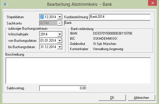 Domus 4000 Abstimmkreis Kontoregister Und Saldovortrag Bank