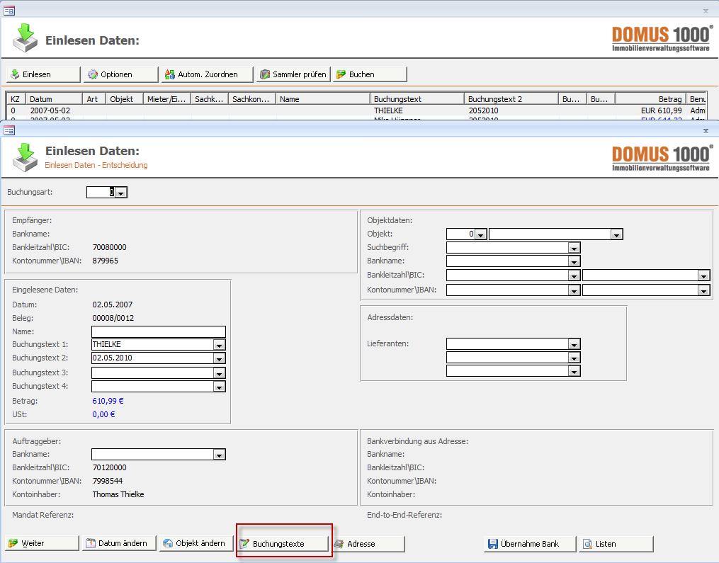 DOMUS 1000: Standard-Buchungstexte | DOMUS Software AG