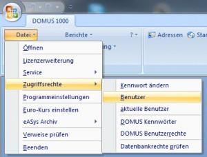 DOMUS 1000 - Menue zu Benutzerkonten