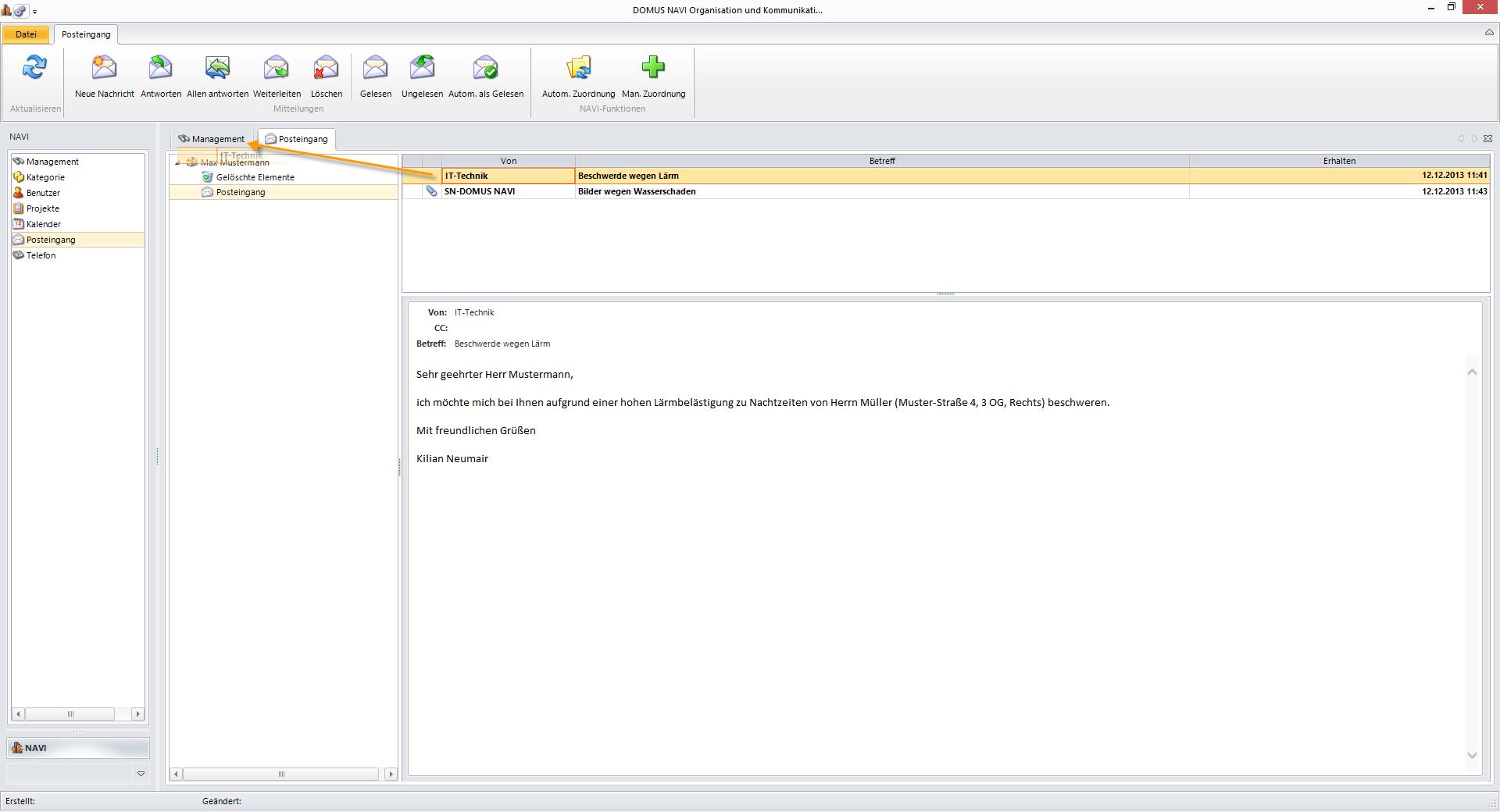 Ziehen der E-Mail auf das entsprechende Register